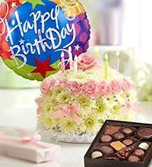 Amazoncom Birthday Flower Cake Pastel With Happy Birthday