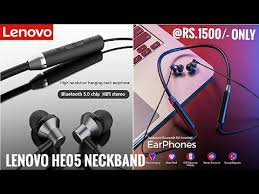 <b>Lenovo HE05 Wireless Bluetooth</b> 5.0 in-Ear Neckband Earphones ...