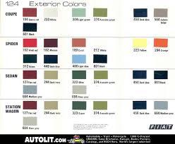 Fiat Paint Color Chart Fiat 124 Sport Coupe Bc Paint And Trim Color Charts T124