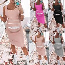 2019 <b>Pregnancy Dresses</b> Summer Women <b>Sleeveless</b> Pregnant ...