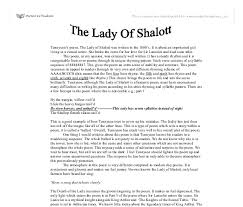"essay lady of shalott homework writing service essay lady of shalott ""the lady of shalott"" is a much appraised poem because"