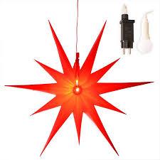 Weihnachtsstern ø 50 Cm 11 Zacken Aus Folie Rot Led Beleuchtet Außen