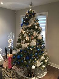 blue, navy, white ornaments and white ribbon