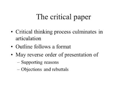 academic writing carol m allen writing styles in the  the critical paper critical thinking process culminates in articulation outline follows a format reverse order