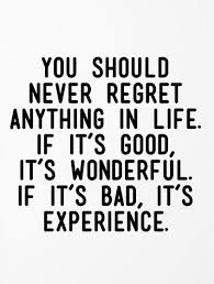 Quotes In Life Gorgeous You Should Never Regret Anything In Life If It's Good It's