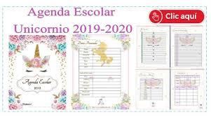 Agenda Escolar 2019 Actualizada Unicornio Para Imprimir