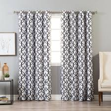 aurora home faux silk reverse geometric trellis blackout curtain panel 52 x 84