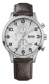 hugo boss men s brown leather strap chronograph watch