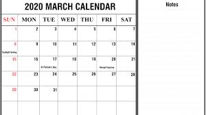 2020 Calendar With Us Holidays Free Printable March Holidays 2020 Calendar In Us Uk