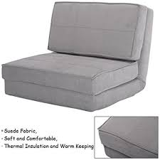 giantex fold down chair flip out lounger convertible sleeper bed couch game dorm guest gray