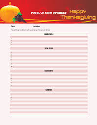 Sign Up Sheet For Thanksgiving Potluck 29 Images Of Thanksgiving Potluck Sign Up Sheet Template Printable