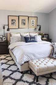 spring master bedroom gingham pillows navy white gray upholstered bench