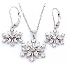 snowflake american diamond 925 silver necklace set with earrings