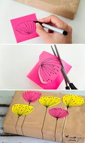 cute gift wrap idea for when you don't have wrapping paper using a brown  paper bag, a sharpie and post it notes - gotta remember to do creative  stuff like ...