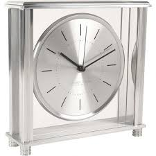 glass mantle clock large silver