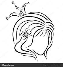 Schattig Meisje Een Kroon Met Een Spin Het Haar Stockfoto