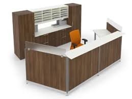 reception office desks. Modular Reception Desk Workstation With Matching Credenza Wardrobe Cabinets And Overhead Pigeon Hole Hutch Side View Office Desks