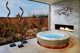Bathroom:Awesome Privat Bathroom Design With Bamboo Fence And Gas Fireplace  Decor Ideas Awesome Privat