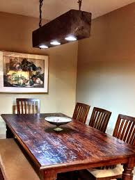 rustic modern hanging reclaimed wood beam light lighting fixture with led lamps and rusted chain