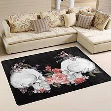 naanle fl roses skull area rug 4x6 day of the dead vintage polyester area rug mat