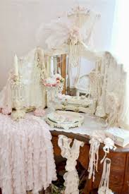 An absolutely covered shabby chic vanity!