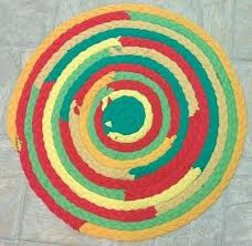 braid rug green red yellow kitchen braided colors table handmade recycled and black rugby jersey