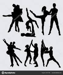 couple ballet ballerina silhouette good use symbol logo web icon stock vector