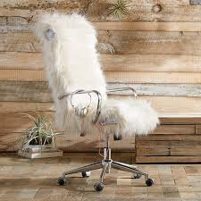 ivory faux fur desk chair