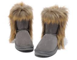 Ugg Fashion Fox Fur Classic Short 5825 Grey Boots For Women