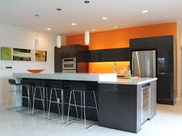 Modern Kitchen Colour Schemes Yellow Stained Wood Cabinet Wall Storage Refrigerator Gray Paint