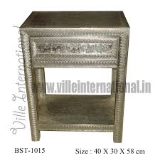 white metal furniture. Embossed White Metal Bedside Table With Leaf Design Furniture M