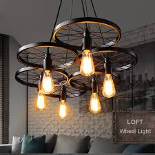 Us 79 21 Offrussia Pendant Light Vintage Industrial Lamp Nordic Metal Wheel Lights Loft Dining Room Lighting For Chirstmas Wedding Decor In