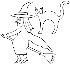 Small Picture Witch on broom with black cat Coloring Page Halloween