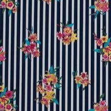Twilight Blue, Tigerlily and Freesia <b>Floral Striped</b> Stretch Cotton Twill ...