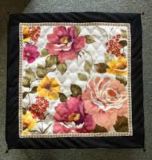 hand painted square table runner coffee