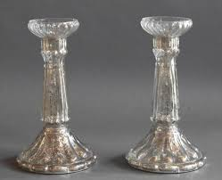 antique mercury glass pillar candle holders