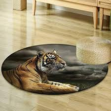 Safari Living Room Decor Fascinating Amazon Mikihome Round Rugs For Bedroom Wildlife Nature Decor
