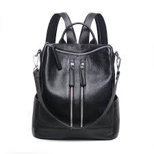 whole black leather backpack laptop bag womens genuine leather backpacks for teenage girls bagpack travel backpack women shoulder bag school backpacks