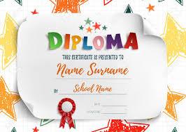 Диплом шаблон для детей сертификат фон с рисованной красочные  Диплом шаблон для детей сертификат фон с рисованной красочные звезды в школе детском саду