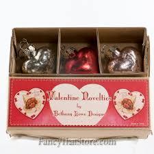 mercury glass heart ornaments in box by bethany lowe set
