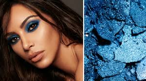 caign image of kim kardashian west wearing the blue eye shadow from her collaboration with mario