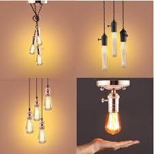 details about chrome ceiling rose braided flex 1 3 4 head pendant lamp holder lights modern