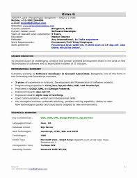 Sample Resume Format For 1 Year Experience In Net New Best Ideas