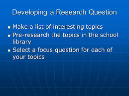 epa what is epa th grade elementary performance assessment  3 developing a research question make a list of interesting topics