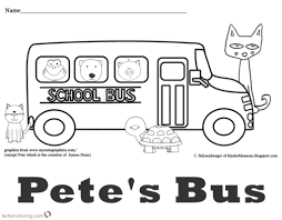 Pete The Cat Coloring Pages School Bus Free Printable Coloring Pages