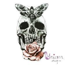 Velké Nalepovací Tetování Lebka Můra A Růže