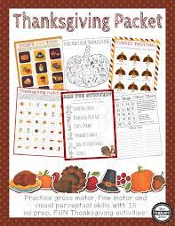 Thanksgiving Packet Fine Motor Gross Motor And Visual Perceptual Activities