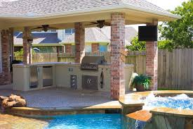 outdoor kitchen pool home