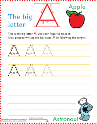 Letter Practicing Worksheets The Big Letter A Practicing Writing Writing