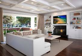 cool recessed lighting. Wide Coffered Ceiling With Recessed Lighting Set Over Cool Living Room Seating Area Interior Plus Black Fireplace